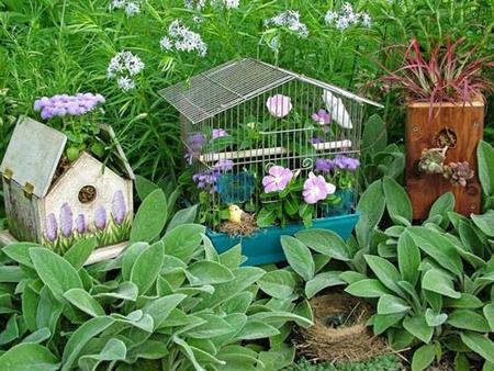 Dùng chuồng chim để...trang trí sân vườn | ảnh 1